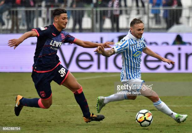 Rolando Mandragora of FC Crotone and Manuel Lazzari of Spal in action during the Serie A match between Spal and FC Crotone at Stadio Paolo Mazza on...