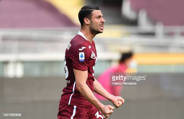 Rolando Mandragora of Torino F.C. Celebrates after scoring his sides second goal during the Serie A match between Torino FC and US Sassuolo at Stadio...
