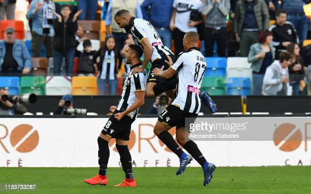 Rolando Mandragora of Udinese Calcio celebrates after scoring his team second goal during the Serie A match between Udinese and Genoa CFC at Stadio...