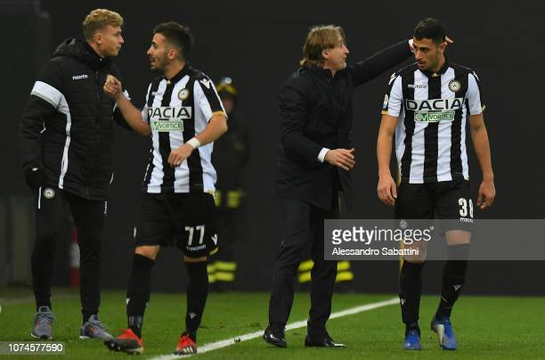 Rolando Mandragora of Udinese Calcio celebrates after scoring the opening goal with his coach Davide Nicola of Udinese during the Serie A match...