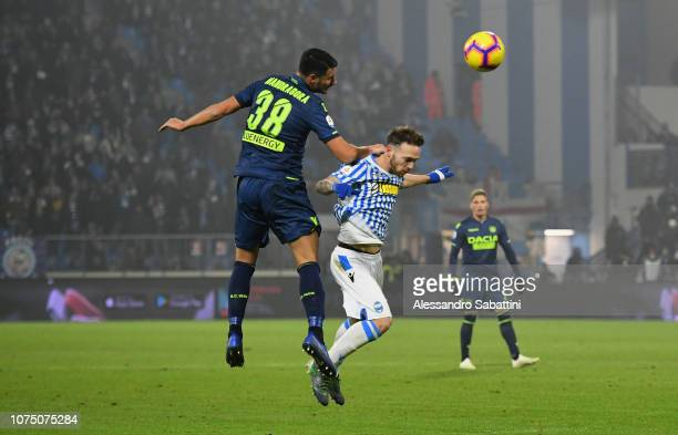 Rolando Mandragora of Udinese Calcio competes for the ball with Manuel Lazzari of Spal during the Serie A match between Spal and Udinese at Stadio...