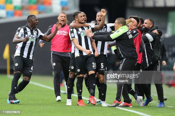 Rolando Mandragora of Udinese celebrates after scoring a goal during the Serie A match between Udinese and Empoli at Stadio Friuli on April 7 2019 in...