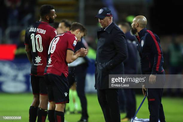 Rolando Maran coach of Cagliari talks to his players during the Serie A match between Cagliari and Torino FC at Sardegna Arena on November 26 2018 in...