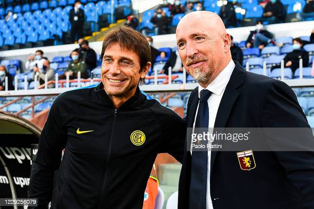 Rolando Maran coach of Genoa greets Antonio Conte coach of Inter before the Serie A match between Genoa CFC and Fc Internazionale at Stadio Luigi...