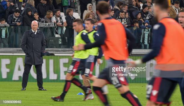 Rolando Maran Head Coach of Cagliari looks on during the Serie A match between Juventus and Cagliari on November 3 2018 in Turin Italy