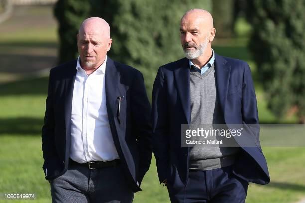 Rolando Maran manager of Cagliari Calcio and Stefano Pioli manager of ACF Fiorentina during the Golden Bench award at Centro Tecnico Federale di...