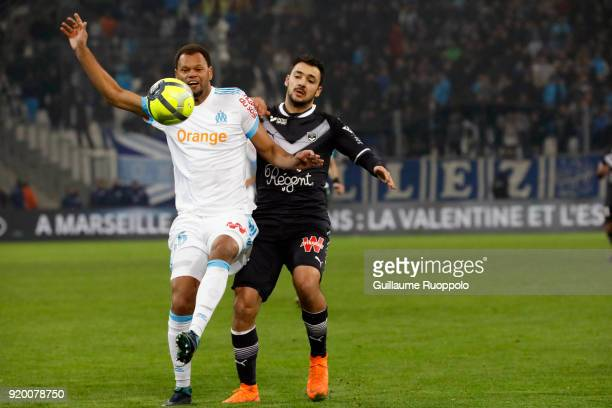 Rolando of Marseille and Gaetan LABORDE of Bordeaux during the Ligue 1 match between Olympique Marseille and FC Girondins de Bordeaux at Stade...