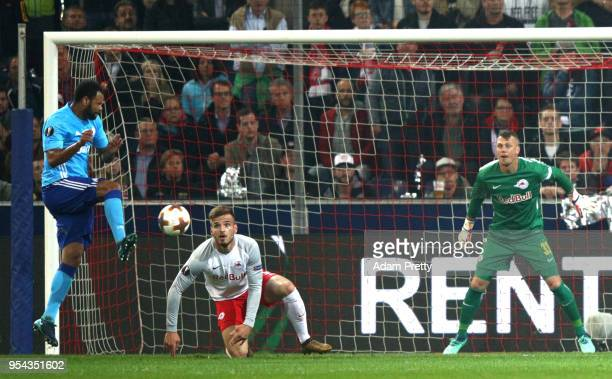 Rolando of Marseille scores the first marseille goal and winning goal during the UEFA Europa Semi Final Second leg match between FC Red Bull Salzburg...