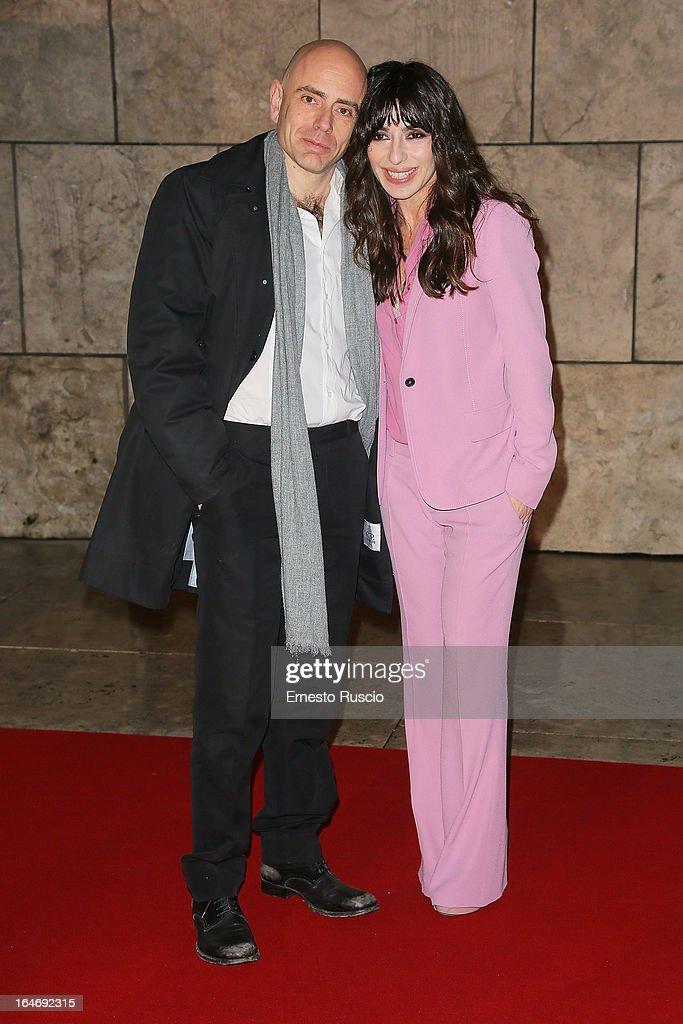 Rolando Ravello and Sabrina Impacciatore attend the 'Viaggio Sola' premiere at Ara Pacis on March 26, 2013 in Rome, Italy.