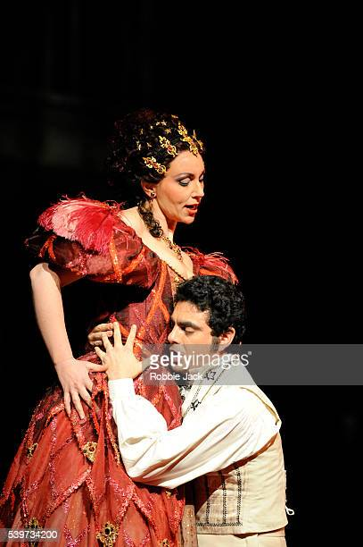 Rolando Villazon and Christine Rice perform in Jacquez Offenbach's Les Contes D'Hoffmann at the Royal Opera House Covent Garden in London