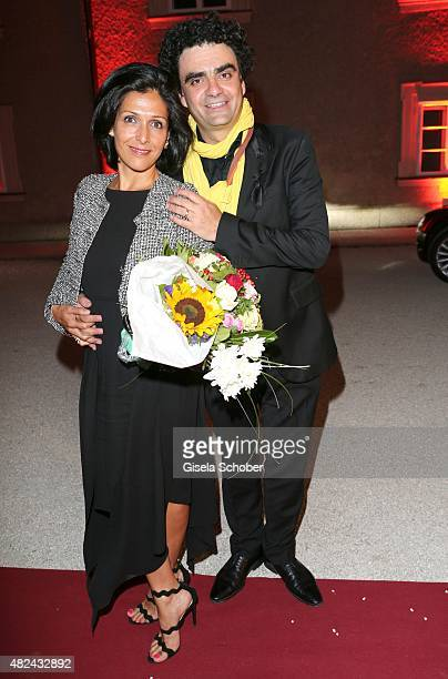 Rolando Villazon and his wife Lucia Villazon attend the 40 year stage anniversary of Placido Domingo during the Salzburg Festival on July 30 2015 in...