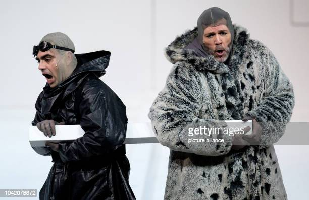 Rolando Villazon as Robert Falcon Scott and Thomas Hampson as Roald Amundsen perform on stage during a rehearsal of the opera 'South Pole' at the...