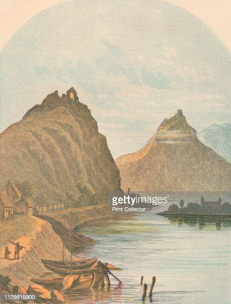 'Rolandseck and the Kloster Nonnenwerth' 1864 View of the ruined convent on the island of Nonnenwerth and the castle at Rolandseck on the River Rhine...