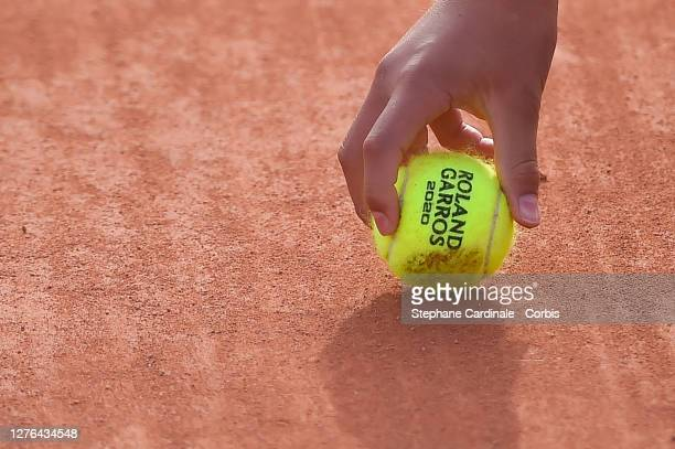 Rolang Garros Tennis ball is seen during the Qualifying of the French Open at Roland Garros on September 24, 2020 in Paris, France.