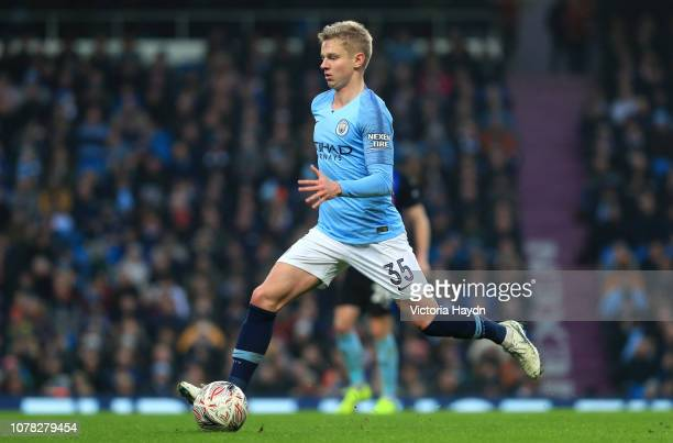 ROleksandr Zinchenko of Manchester City in action during the FA Cup Third Round match between Manchester City and Rotherham United at the Etihad...