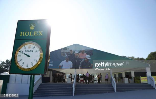 Rolex clock in the public village is pictured during Previews of The BMW PGA Championship at Wentworth Golf Club on September 07, 2021 in Virginia...