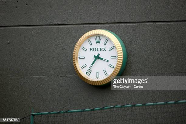 Rolex clock on the wall of NO1 Court during the Wimbledon Lawn Tennis Championships at the All England Lawn Tennis and Croquet Club at Wimbledon on...
