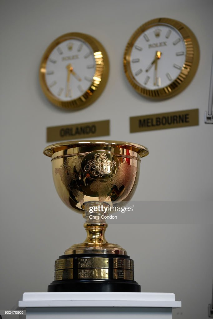 Rolex clocks on display during the announcements of the 2019 President's Cup Captains prior to the Arnold Palmer Invitational presented by MasterCard at Bay Hill Club and Lodge on March 13, 2018 in Orlando, Florida. (Photo by Chris Condon/PGA TOUR)a.