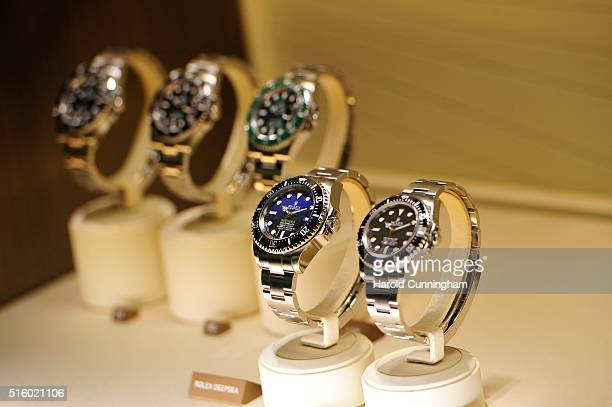 Rolex deepsea watches is displayed during Baselworld on March 16 2016 in Basel Switzerland Held annually Baselworld is the most important watch and...