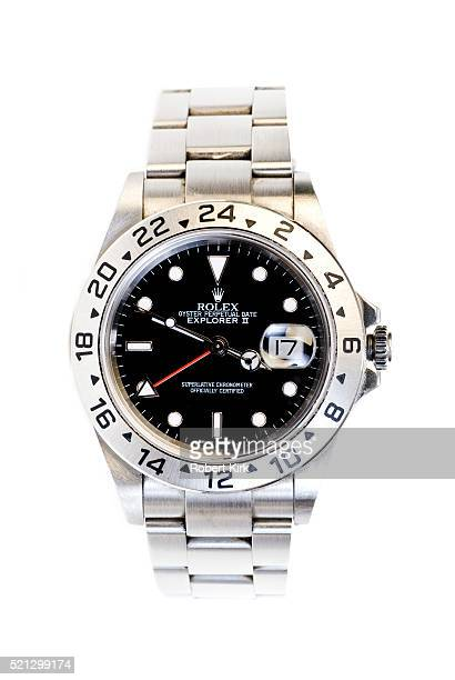 rolex explorer ii wristwatch - watch timepiece stock photos and pictures