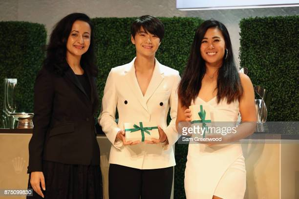 Rolex FirstTime Winners Sung Hyun Park of Korea and Danielle Kang of the United States pose during the LPGA Rolex Players Awards at The RitzCarlton...