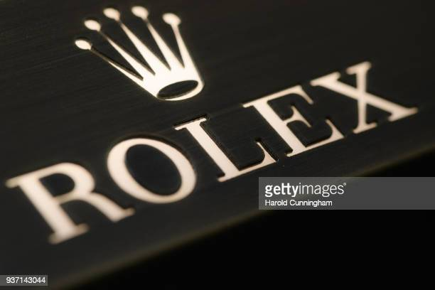 Rolex logo is displayed at the BaselWolrd watch fair on March 23, 2018 in Basel, Switzerland. The annual watch trade fair sees the very latest...