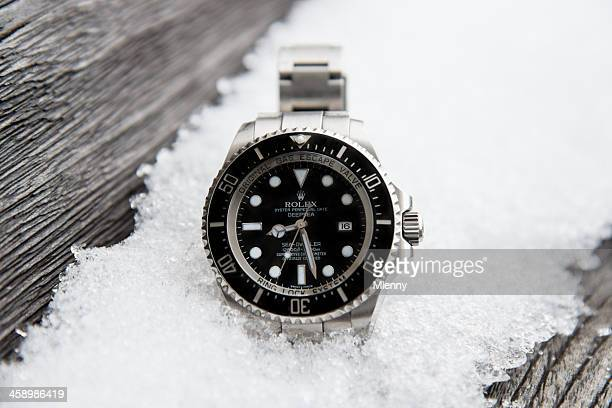 rolex seadweller deepsea - wrist watch stock pictures, royalty-free photos & images