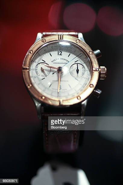 A Rolex watch is displayed during a media preview for an auction which includes jewelry and other personal items belonging to Bernard Madoff in New...