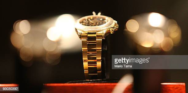 Rolex watch is displayed during a press preview of a US Marhals Service auction of personal property seized from Bernard and Ruth Madoff November 13...