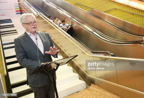 Rolf Beck director of the SchleswigHolstein Music Festival stands during the sound installation 'Piano Stairs' in City Hall SBahn Station in...