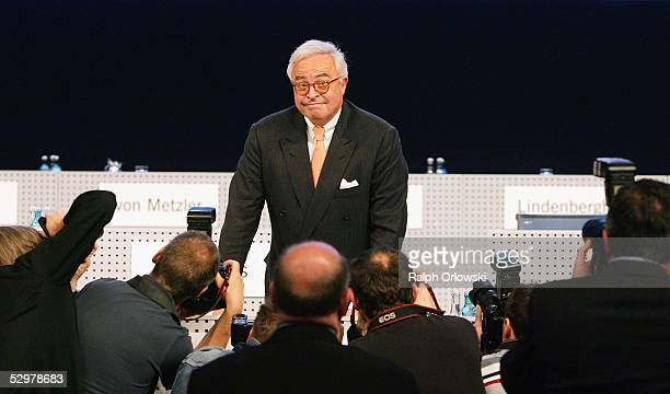 Rolf Breuer chief of the supervisory board of Deutsche Boerse Group attends the annual shareholder's meeting on May 25 2005 in Frankfurt Germany...