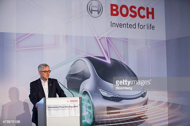Rolf Bulander chairman of mobility solutions at Robert Bosch GmbH speaks during a driverless technology press event in Boxberg Germany on Tuesday May...