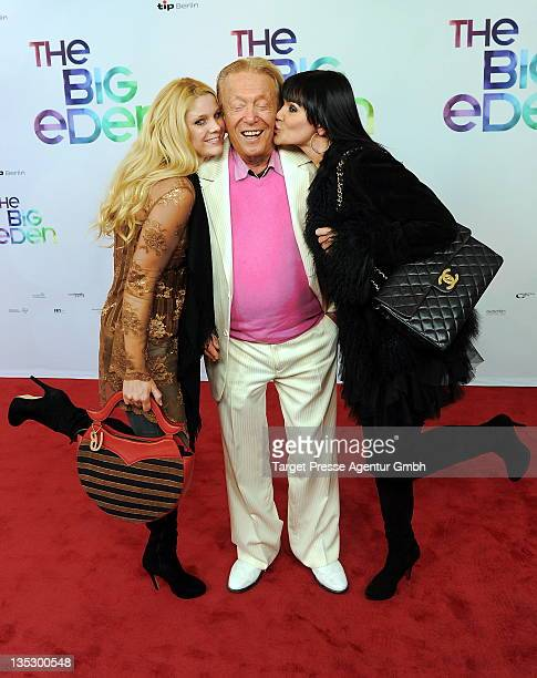 Rolf Eden and his girlfriend Brigitte and another girlfriend attend the The Big Eden premiere at Cinema Paris on December 8 2011 in Berlin Germany