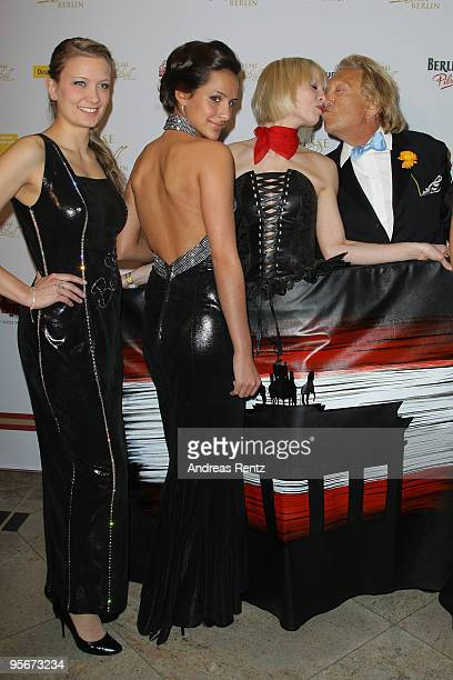 Rolf Eden kisses a woman at the 111 Berlin Press ball at Maritim Hotel on January 9 2010 in Berlin Germany