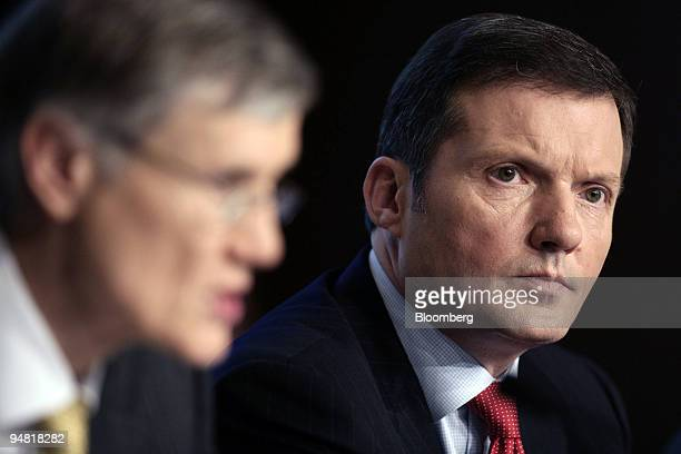Rolf Friedhofen HypoVereinsbank chief financial officer listens during the annual press conference in Munich Germany Thursday March 23 2006 HVB Group...