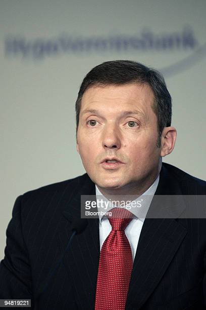 Rolf Friedhofen HypoVereinsbank chief financial officer speaks during the annual press conference in Munich Germany Thursday March 23 2006 HVB Group...