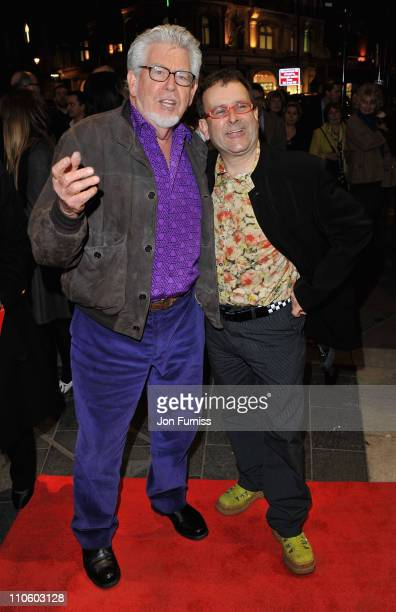 Rolf Harris and Timmy Mallett attend 'The Umbrellas of Cherbourg' Theatre Press Night at the Gielgud Theatre on March 22 2011 in London England