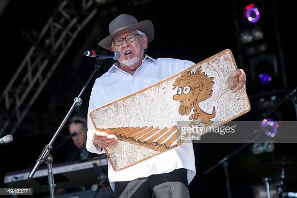 Rolf Harris performs at Camp Bestival at Lulworth Castle on July 29 2012 in Wareham England