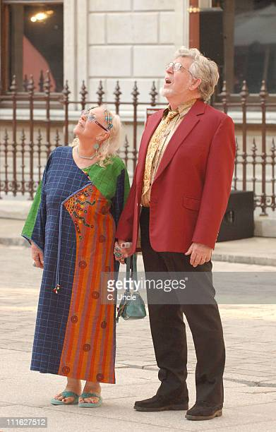 Rolf Harris with his wife during 2006 Royal Academy Summer Exhibition Outside Arrivals at Royal Academy Of Arts in London Great Britain