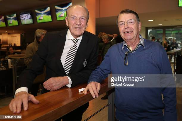 Rolf Koenigs and Hartwig Bleidick attend the Club Of Former National Players Meeting at Borussia Park Stadium on November 16, 2019 in...