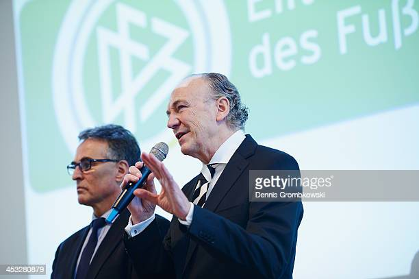 Rolf Koenigs, president of Borussia Moenchengladbach, holds a speach during the DFB Football Elite School Opening Ceremony at Borussia-Park on...