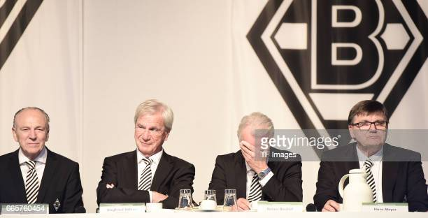 Rolf Konigs and Siegfried Solle and Rainer Bonhof and Hans Meyer is seen during the Borussia Mönchengladbach Annual Meeting at the Borussia Park on...