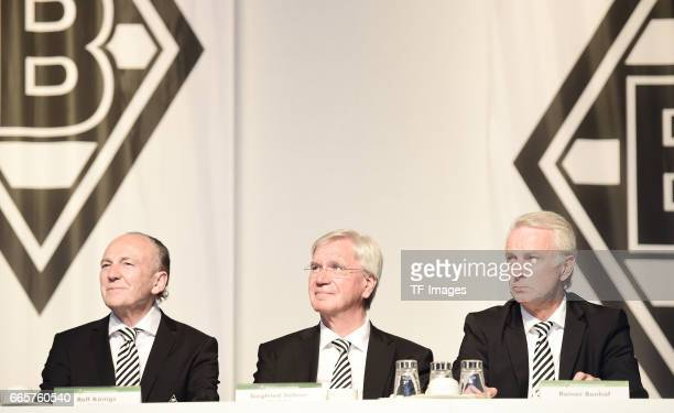 Rolf Konigs and Siegfried Solle and Rainer Bonhof is seen during the Borussia Mönchengladbach Annual Meeting at the Borussia Park on April 3, 2017 in...