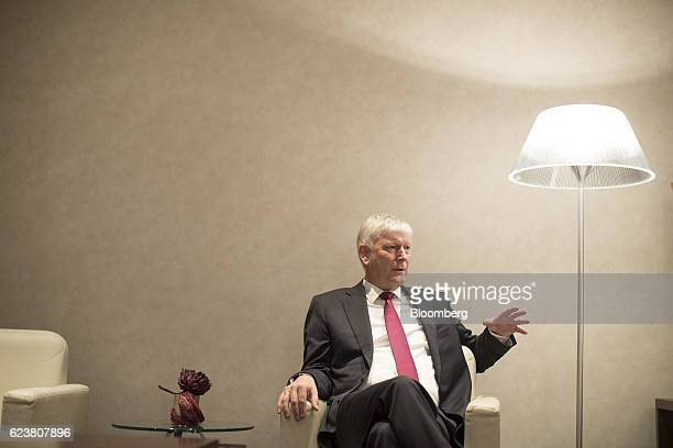 Rolf Martin Schmitz chief executive officer of RWE AG gestures as he speaks during an interview in Cologne Germany on Tuesday Nov 15 2016 RWE...