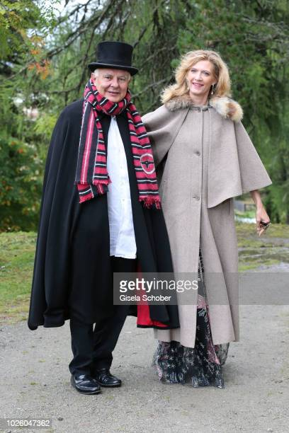 Rolf Sachs and his girlfriend Princess Mafalda von Hessen of Hessen during the wedding of Prince Konstantin of Bavaria and Deniz Kaya at the french...