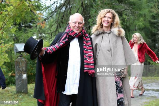 Rolf Sachs and Princess Mafalda von Hessen of Hessen during the wedding of Prince Konstantin of Bavaria and Deniz Kaya at the french church 'Eglise...
