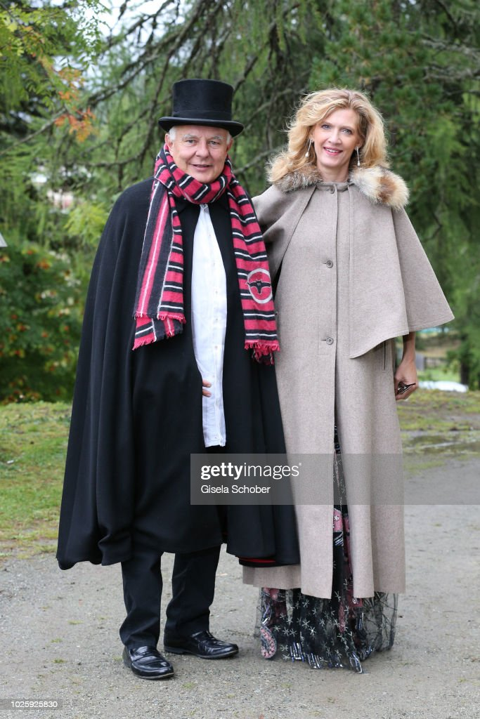 Rolf Sachs and Princess Mafalda von Hessen, of Hessen, during the wedding of Prince Konstantin of Bavaria and Deniz Kaya at the french church 'Eglise au Bois' on September 1, 2018 in St Moritz, Switzerland.