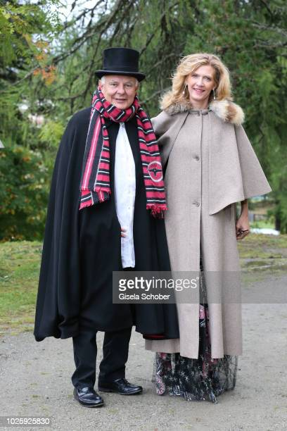 Rolf Sachs and Princess Mafalda von Hessen of Hessen during the wedding of Prince Konstantin of Bavaria and Deniz Kaya at the french church 'Eglise...