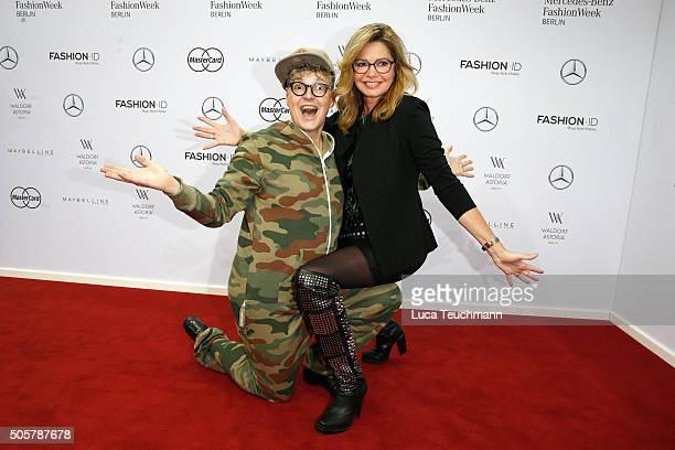 Rolf Scheider and Maren Gilzer attend the Anja Gockel show during the Mercedes-Benz Fashion Week Berlin Autumn/Winter 2016 at Brandenburg Gate on...