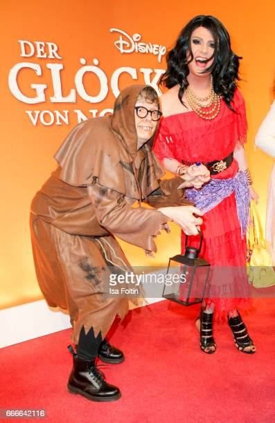 Rolf Scheider in the mask of Quasimodo and guest in the mask of Esmeralda attend the premiere of the musical 'Der Gloeckner von Notre Dame' on April...